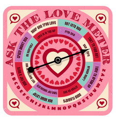 Valentine love advice game with spinning arrow vector