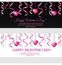 Valentines day banners with pink hearts vector image