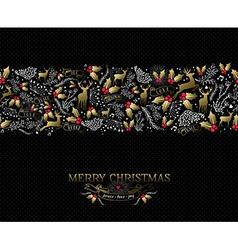 Vintage Christmas card reindeer seamless pattern vector image
