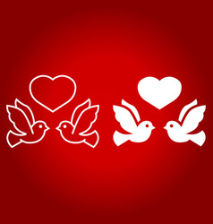 wedding doves with heart line and glyph icon vector image