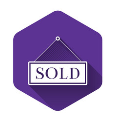 white sold icon isolated with long shadow sold vector image