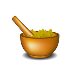 Wooden mortar with pestle and brown leaves vector