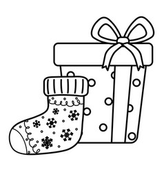 wrapped gift and sock celebration merry christmas vector image