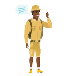 Young african-american traveler with speech bubble vector