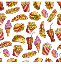 fast food sketch seamless pattern vector image