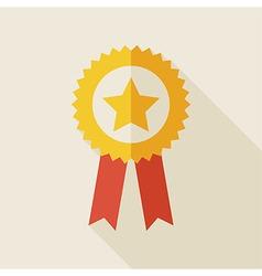 Flat Award Gold Medal with long Shadow vector image