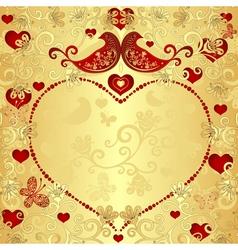 Gold valentine frame vector image vector image
