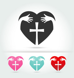 Isolate icon of the christian cross vector