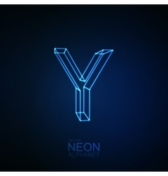 Neon 3D letter Y vector image vector image
