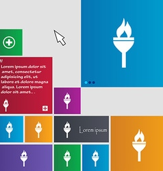 Torch icon sign buttons modern interface website vector