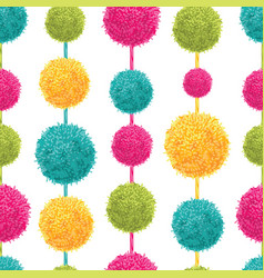 fun colorful decorative hanging pompoms vector image vector image