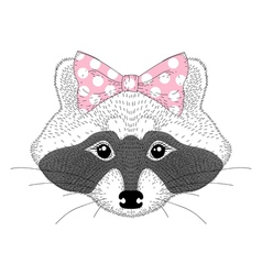 Hand drawn pretty anthropomorphic animal cartoon vector image