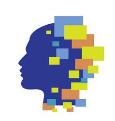 Techno human head vector