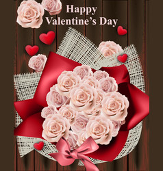 happy valentine day card with roses bouquet vector image vector image