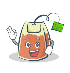 okay tea bag character cartoon art vector image vector image
