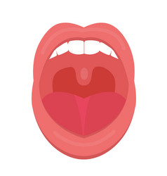open mouth icon flat style throat tonsils vector image