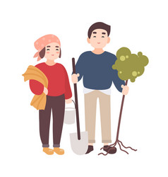 pair of cute happy smiling man and woman farmers vector image