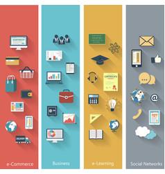 Set of modern concepts in flat design vector image