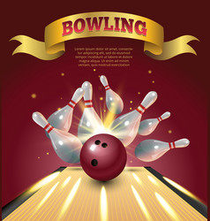 Bowling club poster with realistic ball and vector