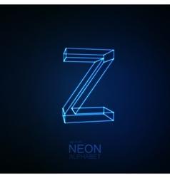 Neon 3D letter Z vector image vector image