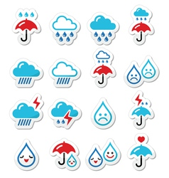 Rain thunderstorm heavy clouds icons set vector image vector image