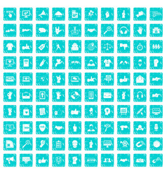 100 different gestures icons set grunge blue vector image