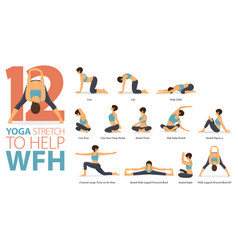 12 yoga poses workout in work from home concept vector