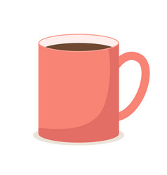 a bright red mug regular shape with hot brown vector image