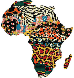 abstract africa map fabric patchwork vector image