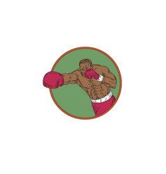 african-american boxer right hook circle drawing vector image