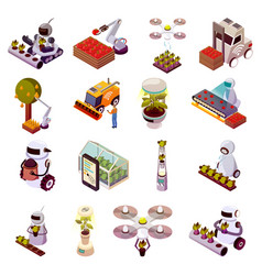 Agricultural robots icon set vector