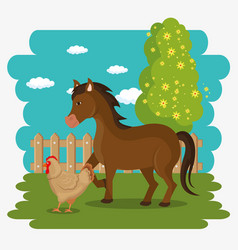 animals in the farm scene vector image