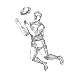 aussie rules football player jumping doodle vector image