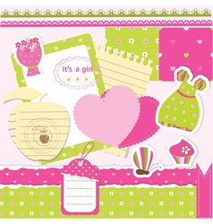 Baby girl scrapbook set vector image