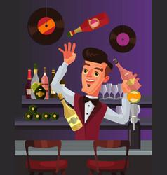 barmen character juggles bottles vector image