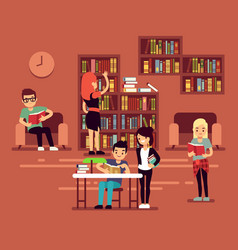 Bibliotheca school library interior with student vector