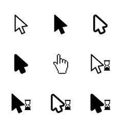 black cursor icon set vector image