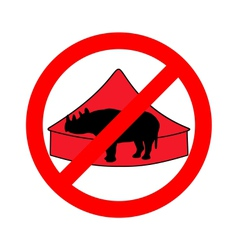 Black rhino in circus prohibited vector image