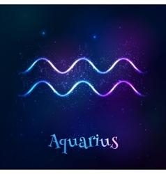 Blue shining cosmic neon zodiac Aquarius symbol vector