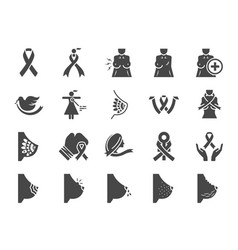Breast cancer sign icon set vector
