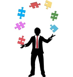 Business man juggling puzzle pieces problems vector