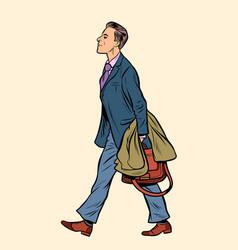 Businessman walking walk around city vector