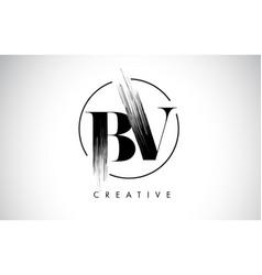 bv brush stroke letter logo design black paint vector image
