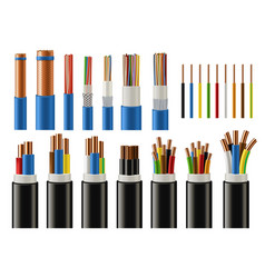 Cables and wires electrical power and network vector