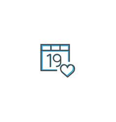 calendar icon design interaction icon line vector image