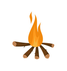 Camping fire icon flat style vector