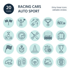 Car racing line icons speed auto vector