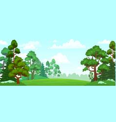 cartoon forest glade green grassland natural vector image