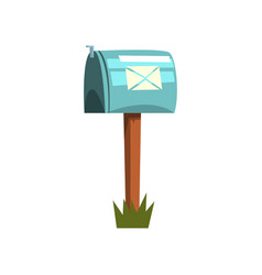 Cartoon metallic mailbox on wooden vector