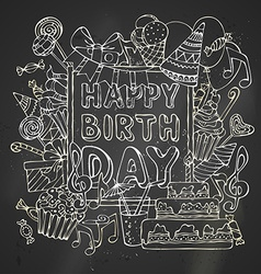 Chalk happy birthday card vector